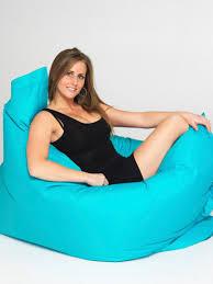 Woman Sitting On Big Blue Beanbag Chair