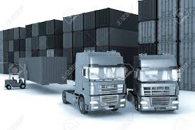 100 Storage Trucks Loading Of Containers On Big In Outdoors Stock Photo