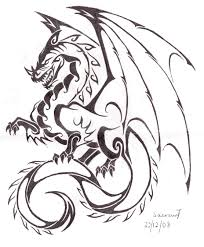 Awesome Outline Dragon Tattoo Design