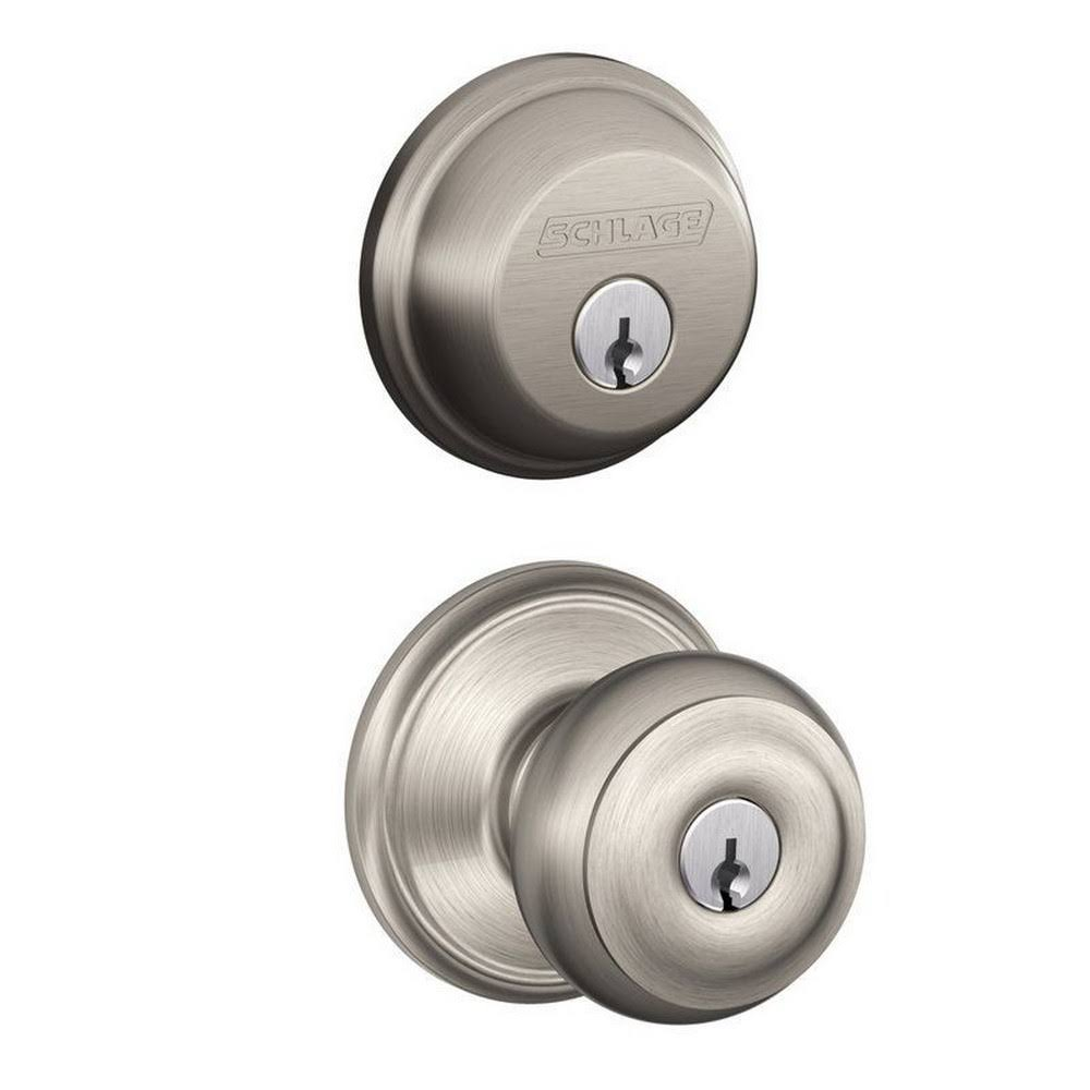 Schlage Georgian Single Cylinder Deadbolt Security Knob Set - Satin Nickel