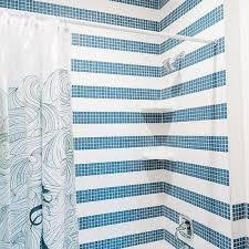 blue grid shower tiles design ideas