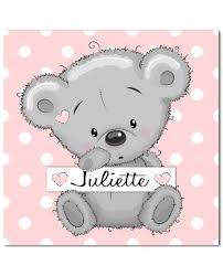 tableau ourson chambre bébé tableau ourson toile personnalisée avec prénom de l enfant cadeau