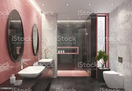moderne badezimmer mit hell rosa waben fliesen stockfoto und mehr bilder 2019