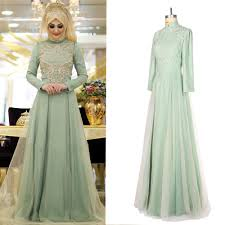 high quality green long sleeve muslim dress buy cheap green long