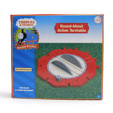 thomas train wooden railway roundabout action roundhouse turntable