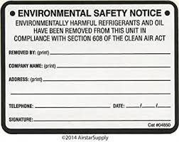 Amazon Refrigerant Removal Labels