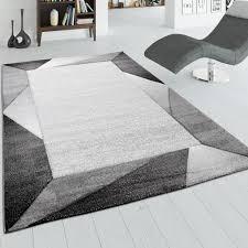 wohnzimmer teppich mit bordüre und 3 d effekt kurzflor teppich in grau beige grösse 200x290 cm