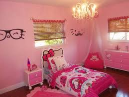 Pink Wall Paint Unique Chandelier Hello Kitty Bedroom Furniture Rectangular White Wooden Daybeds Huge Aquarium Room Design Butterfly Painting Fur