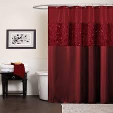 Lush Decor Window Curtains by Amazon Com Lush Decor Maria Shower Curtain Red Home U0026 Kitchen