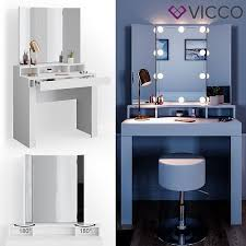 vicco schminktisch nora weiß mit led beleuchtung spiegel hocker frisiertisch