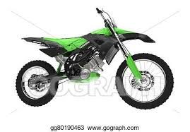 Green Dirt Bike Side View