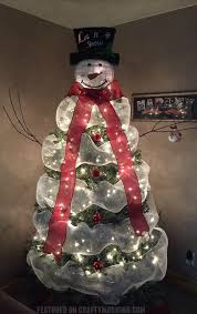 Lovely Snowman Christmas Tree To Make Using Mesh