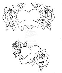 Coloring Pages Roses And Hearts Heart Free Online