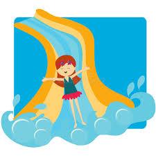 Download Girl Sliding Down The Pool Slide Stock Vector