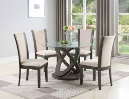 Cicicol 5-Piece Glass Top Dining Table With Chairs, Grey Hever Ding Table With 5 Chairs Bench Chelsea 5piece Round Package Aqua Drewing And Chair Set By Benchcraft Ashley At Royal Fniture Trudell Upholstered Side Signature Design Dunk Bright Lawson Piece Includes 4 Liberty Darvin Barzini Black Leatherette Coaster Value City Pc Kitchen Set A In Buttermilk Cherry East West The District Leaf Intercon Wayside Grindleburg Vesper Round Marble Ding Table Piece Set Brnan Amazoncom Tangkula Pcs Modern Tempered