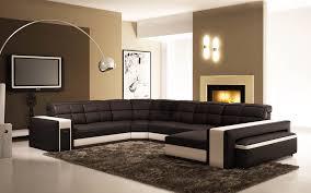 deco in canape d angle panoramique en cuir noir et blanc
