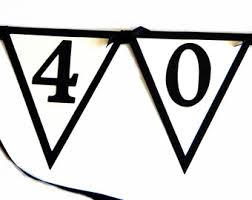 40th Birthday Banner 40 ROCKS Black White or Your choice of colors