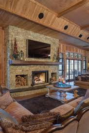Living Room Rustic Ideas That Use Stone Real Fireplace Surround Brown