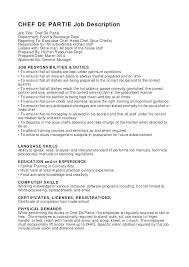 Sample Resume For A Chef Position Examples