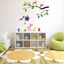 children room wall sticker diy removable forest owl tree bird
