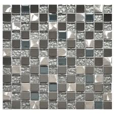 stainless steel tile silver black and royal blue mixed glass and