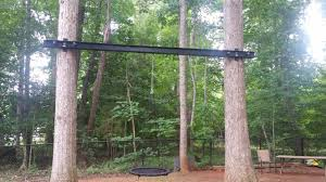 100 Griffin Ibeam Swing Between Two Trees Using Metal I Beam Backyard In 2019 Two