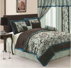 peacock teal and brown bedding