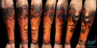Realistic Evil Flames Tattoo On Arm