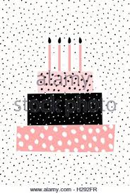 Greeting card template with a cute birthday cake with candles on dots pattern background