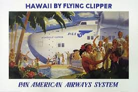 Vintage Aviation Plane Poster QuotHawaii By Flying Clipper Pan American Airways System