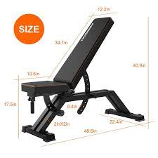 Adjustable Weight Bench Flat Utility Workout Bench FEIERDUN
