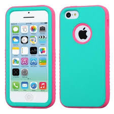 Insten Rubberized Teal Green Electric Pink VERGE Hybrid Skin Case