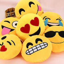 13 Inch Emoji Emoticon Pillow Round Yellow Stuffed High Quality