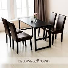 Details About 4 Pcs Leather Dining Chair Kitchen Room Backrest Elegant  Design Furniture Brown