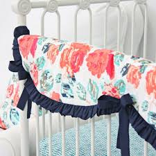 Coral And Mint Baby Bedding by Nursery Beddings Preppy Coral And Navy Baby Bedding With Navy