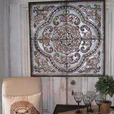Dazzling Tin Wall Decor Plus Rustic Seville Plaque 24 X24 Mediterranean Home Perfect Vintage Decorative Panels