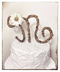 Rustic Twig Monogram Letter Wedding Cake Topper Personalized Any On Etsy 2900