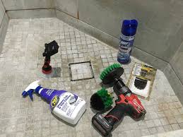 cleaning bathroom shower tile tub with a power drill brush