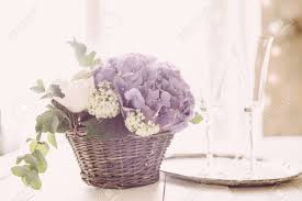 Big Bouquet Of Fresh Flowers Purple Hydrangeas And White Roses In A Wicker Basket