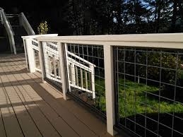 Deck Railing With Hogwire Panels   Deck Railings, Decking And ... Best 25 Deck Railings Ideas On Pinterest Outdoor Stairs 7 Best Images Cable Railing Decking And Fiberon Com Railing Gate 29 Cottage Deck Banister Cap Near The House Banquette Diy Wood Ideas Doherty Durability Of Fencing Beautiful Rail For And Indoors 126 Dock Stairs 21 Metal Rustic Title Rustic Brown Wood Decks 9