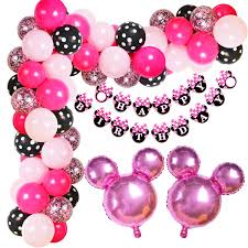 KREATWOW Minnie Mouse Birthday Decorations Minnie Mouse Balloon Garland Arch Kit For Girls Birthday Baby Shower Supplies
