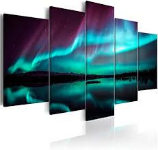 decomonkey bilder polarlicht 200x100 cm 5 teilig leinwandbilder bild auf leinwand wandbild kunstdruck wanddeko wand wohnzimmer wanddekoration deko