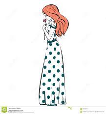Hand Drawn Illustration Princess Girl In Polka Dot Dress Vintage Cute Flower