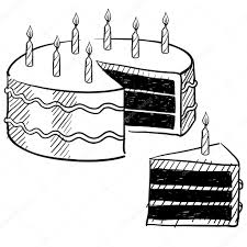 Doodle style birthday cake and cake slice illustration in vector format suitable for web print or advertising use — Vector by lhfgraphics