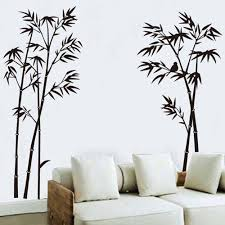 black bamboo single color leaves tree branch wall decor decal