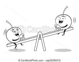 Cherry On Seesaw Coloring Book Vector