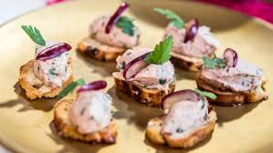 pate canapes duck pate on bagel croutes