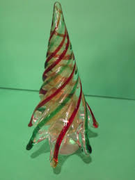 Vintage Murano Glass Christmas Tree Red Green Swirl On Branches Gold Flecks