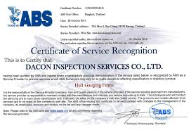 bureau of shipping abs dacon certified by abs for hull gauging services dacon