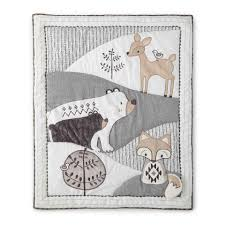 Woodland Themed Nursery Bedding by Levtex Baby Bailey Charcoal And White Woodland Themed 5 Piece Crib